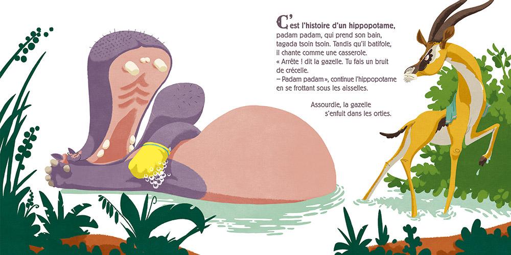 double page c'est l'histoire d'un hippopotame