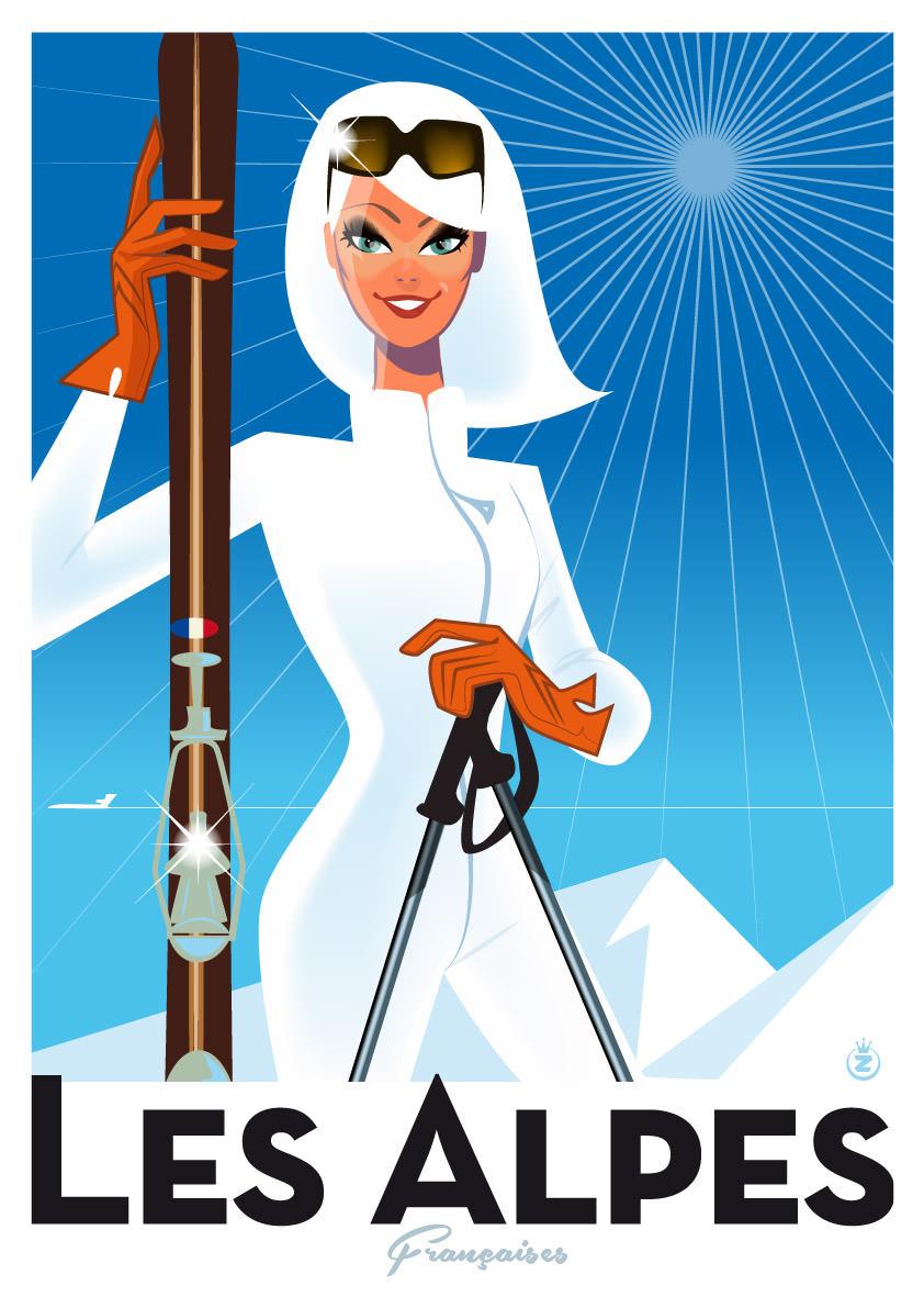 illustration fille skiant à la montagne française