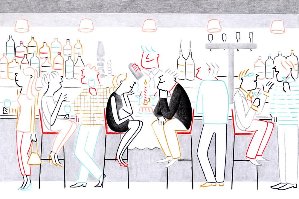 desssin diner au bar