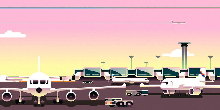 dessin d'un aéroport dans un graphisme rétro