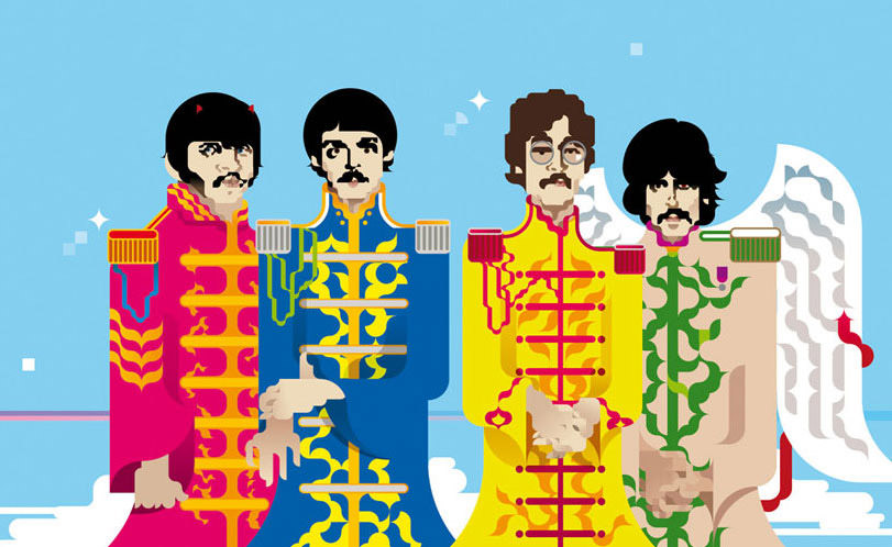 portrait des beatles en illustration