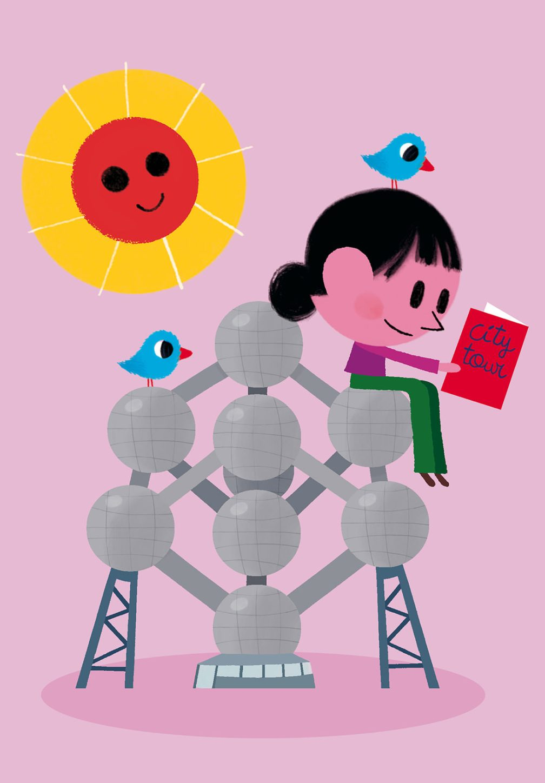 dessin de fille jouant avec l'atonium par vincent mathy