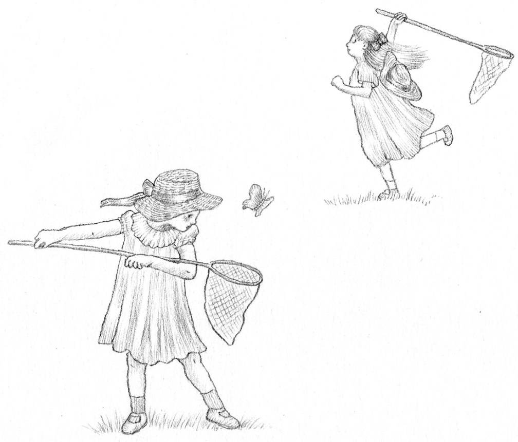 dessin chasse au papillons