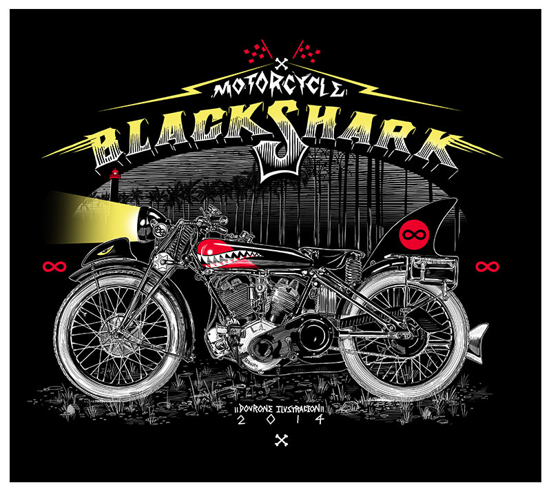 motorcycle black shark