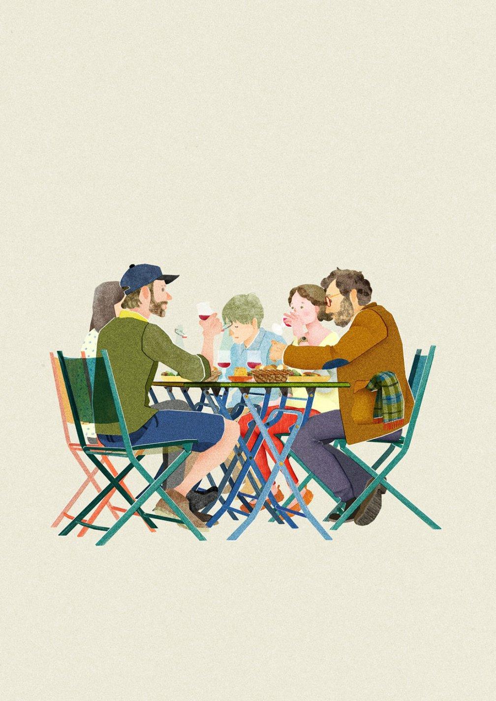illustration d'un groupe à une terrasse de café