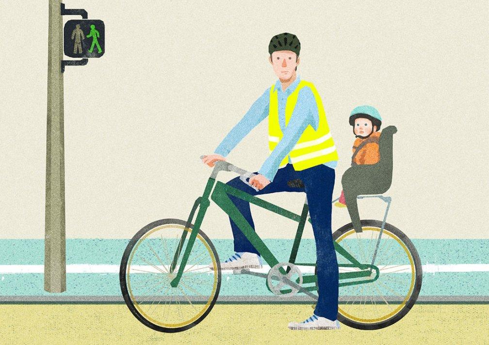 dessin d'un père avec son fils sur un vélo